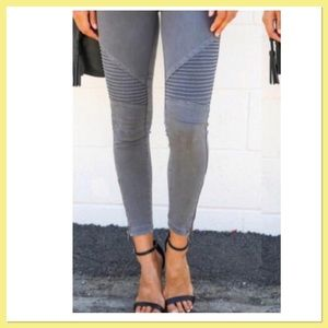 CHARCOAL GRAY MOTO LEGGING